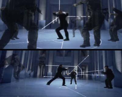 Cenas do filme Equilibrium explicando o gun-kata