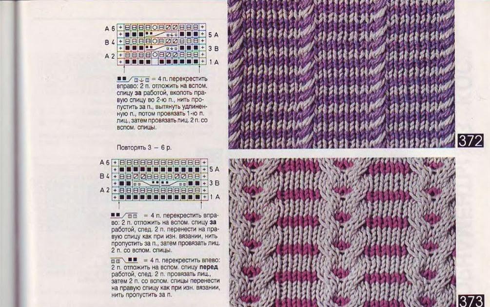Вязание двумя цветами спицами схемы и описание
