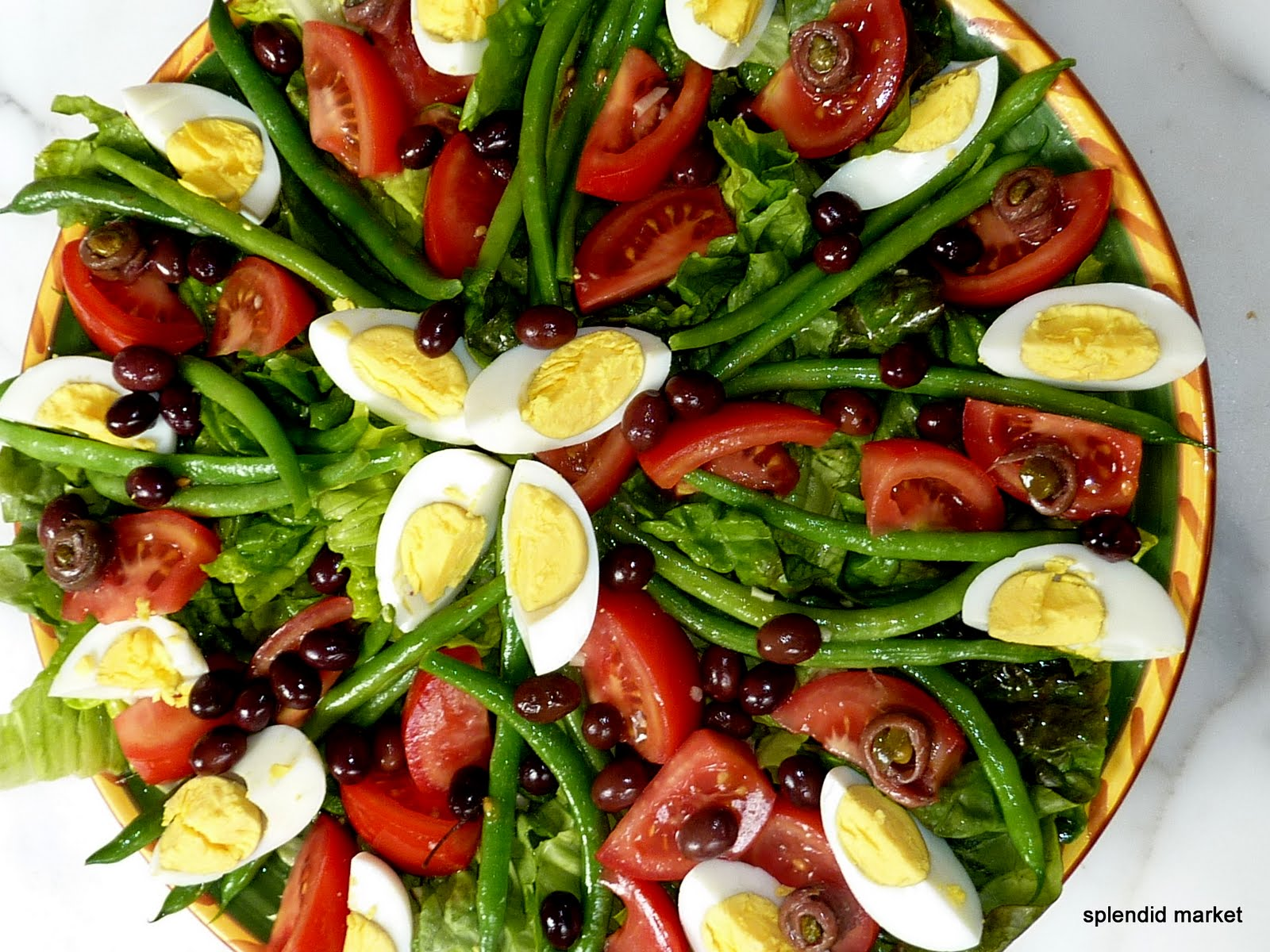 with nicoise vegetables and garlic butter poached egg and bacon salad ...