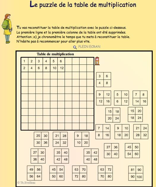 Scorpions des ardoises jeu pour reconstituer les tables for Table de multiplication de 7