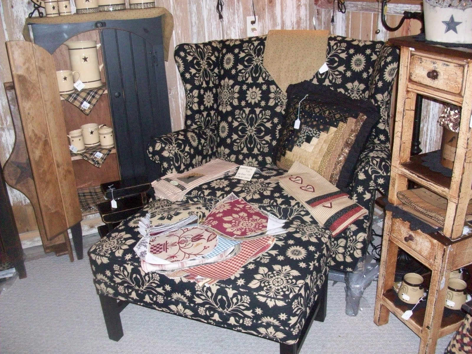 Out In The Barn Theres Lots Of New Prim Furniture. Grandmothers Chair And  Ottoman Made By Dunroven House Can Be Custom Ordered In A Large Selection  Of ...