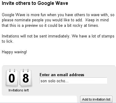 Invitaciones para google wave