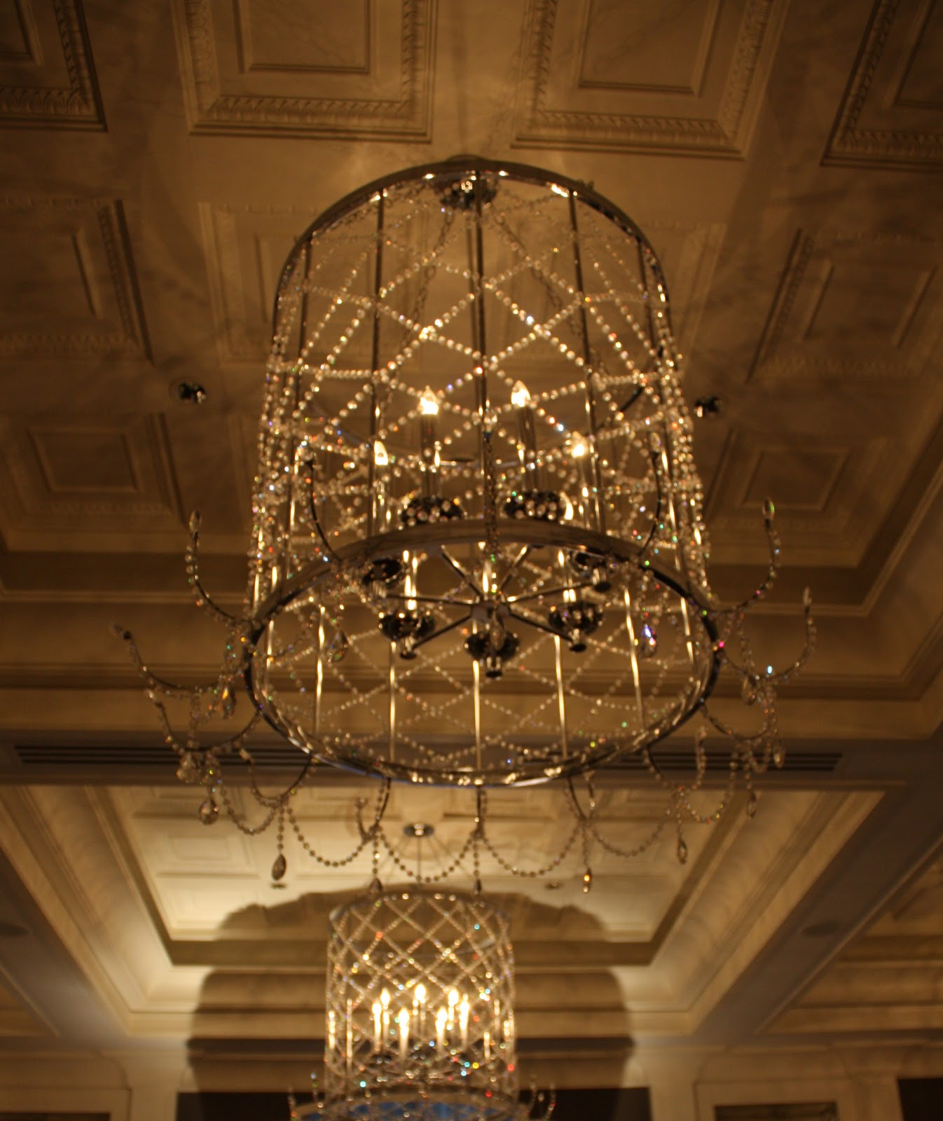 Blog the unique and plentiful ballroom chandeliers feature a gorgeous argyle like pattern that was my inspiration for the aisle treatment arubaitofo Choice Image