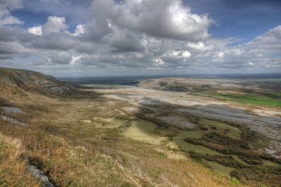 Scenic view from the summit of Slieve Carran in The Burren National Park in county Clare