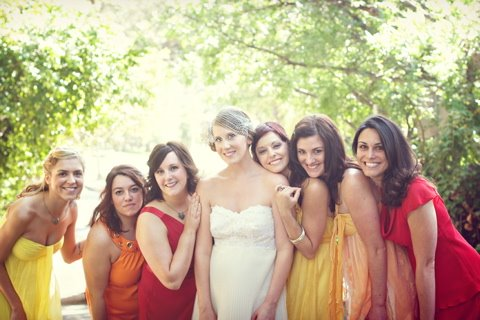 Some more perfectly coordinating but mismatched bridesmaids dresses found at