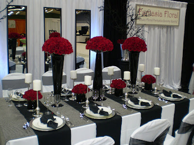 A striking black white and red contrast from Fantasia Floral
