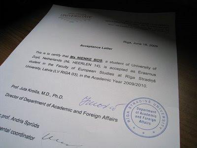 Acceptance letter Riga Stradins University