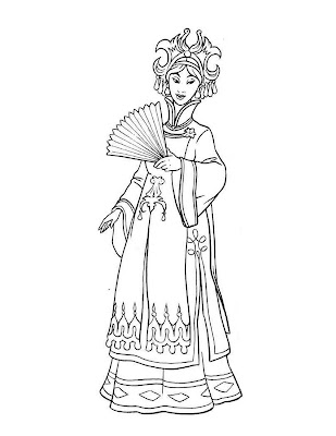disney princesses coloring pages belle. Asian princess with a classic