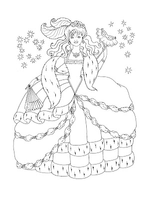 Princess Coloring Sheets on This Coloring Page Features A Princess  A Crown  A Castle And Even A