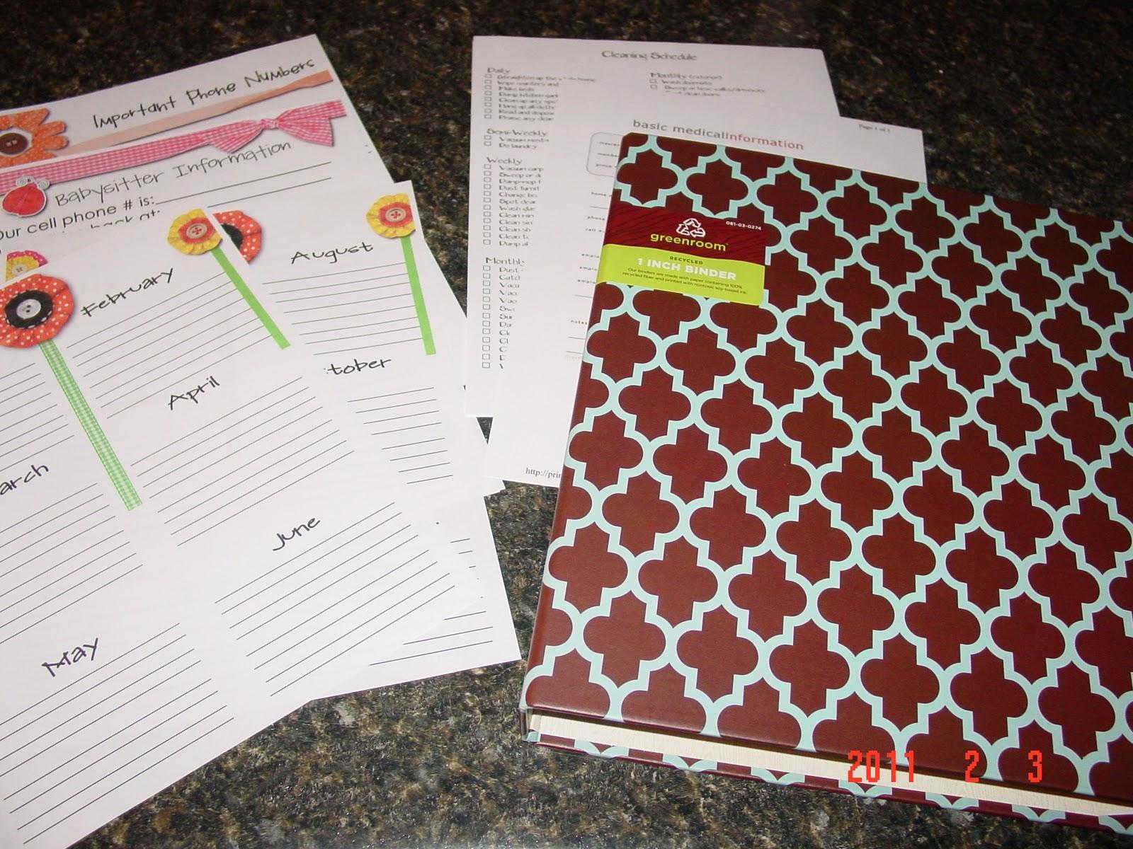 ORGANIZATION Home Management Binder Week 1