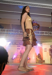 Hot model bare feet on the ramp in a fashion show
