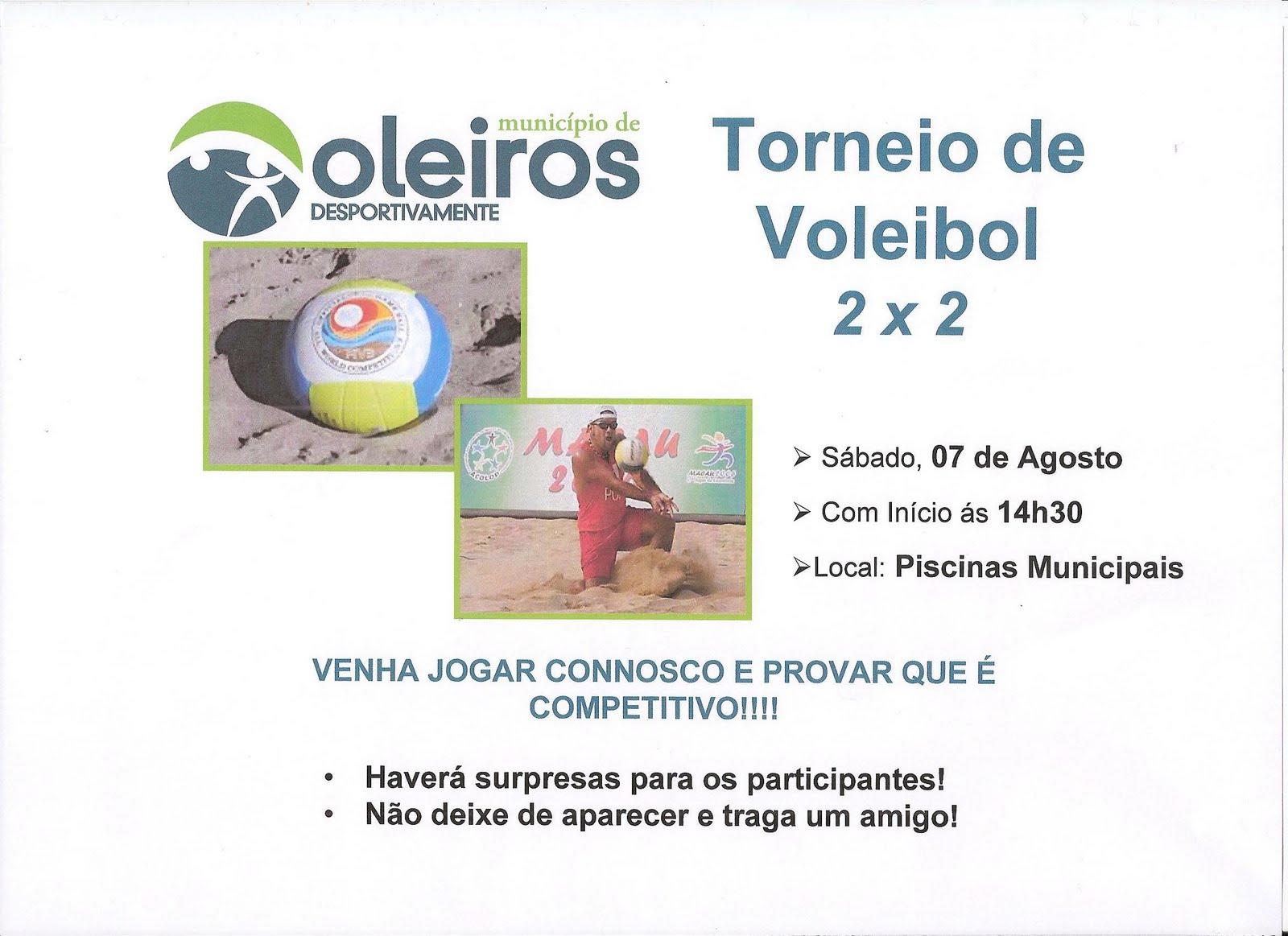 Piscinas municipais de oleiros torneio de voleibol 2 x 2 for Piscina municipal oleiros
