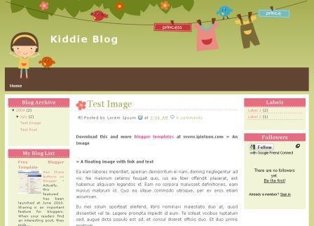 kiddie blog blogger template