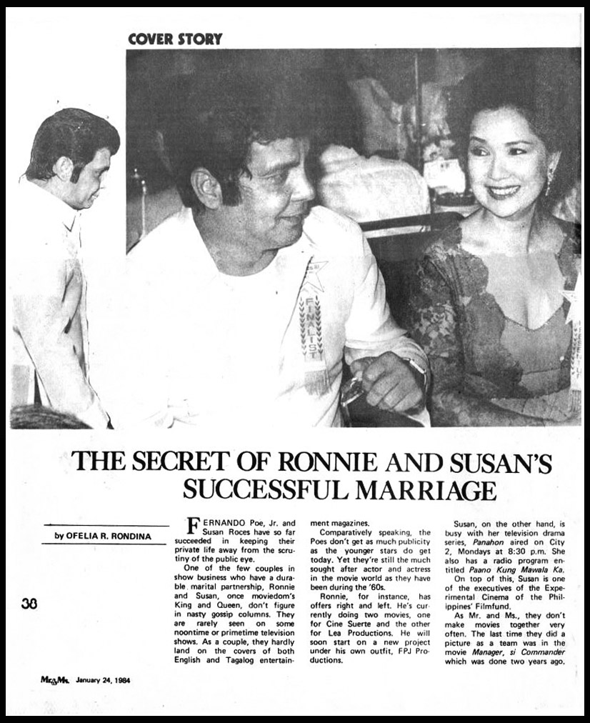 FPJ: MR. & MS. MAGAZINE 1984: THE SECRET OF RONNIE AND