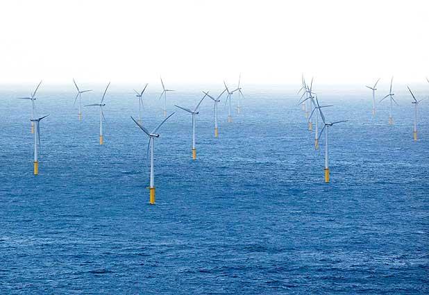 Parque eólico marino en las costas de Bélgica.