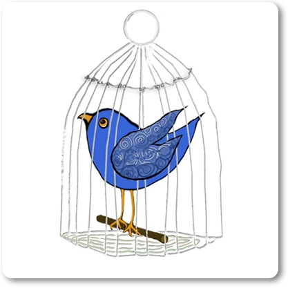 Caged Blue Bird