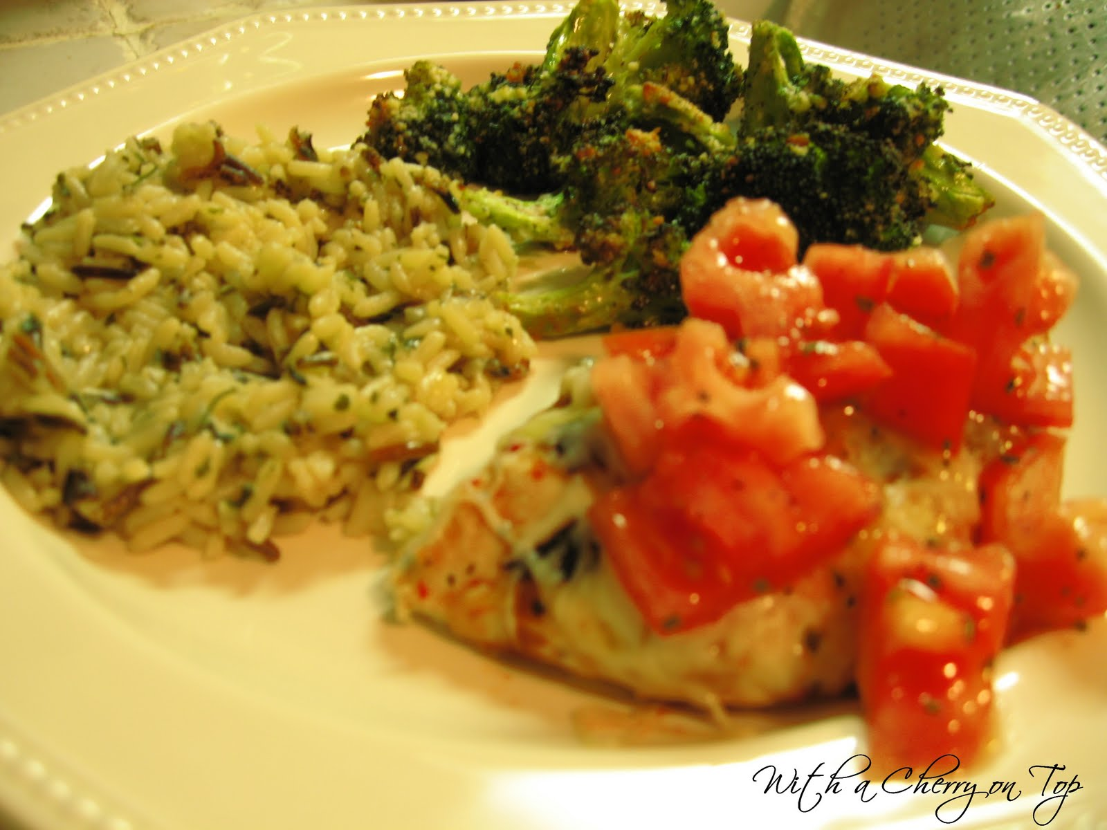 Caprese Chicken & Roasted Parmesan Broccoli