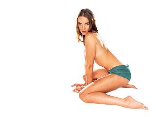 Michelle Behennah in blue undies