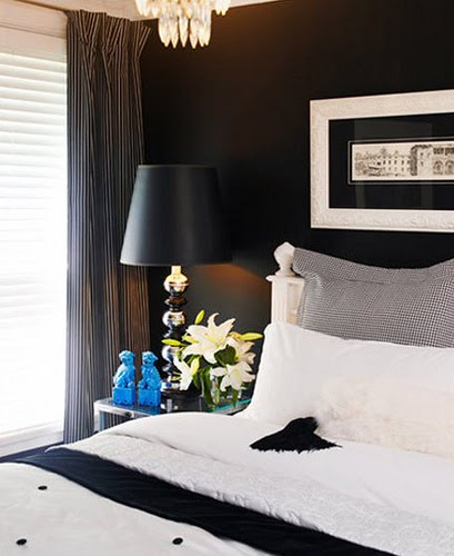 My pear tree house winter in melbourne bedrooms for for Black feature wall bedroom