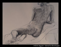 hour-long pose; shading with compressed charcoal & beginning to blend