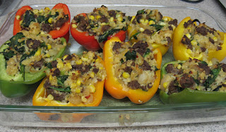 Sausage and millet stuffed peppers, inspired by the Washington Post