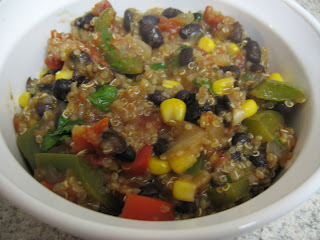 Quinoa and black bean chili adapted from Closet Cooking