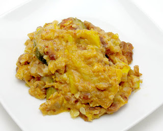 Crock pot squash enchilada casserole, adapted from Not Your Mother's Slow Cooker Cookbook