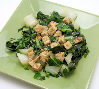 Bok choy with sesame and garlic tofu, adapted from The Whole Foods Market Cookbook