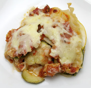 Lasagna with ground chicken, summer squash, and mixed greens