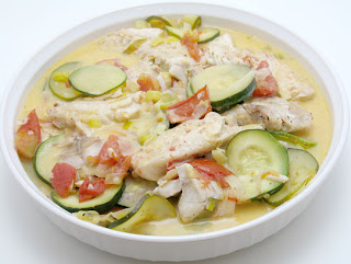 Greek plaki-style snapper and zucchini, adapted from The Olive and the Caper