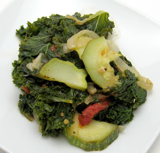 zucchini, tomato, and kale saute