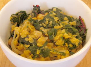 Curried lentil and Swiss chard stew, adapted from Bon Appetit: Fast Easy Fresh