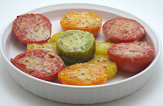 broiled tomatoes with parmesan, adapted from Vegetables Every Day