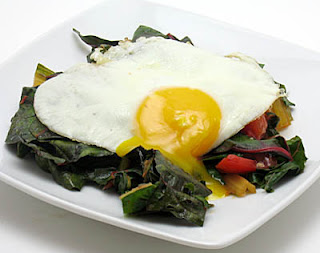 sauteed chard and tomato with fried egg