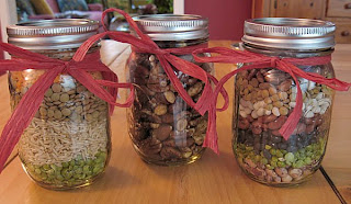 Homemade presents in jars: soup mix and nuts