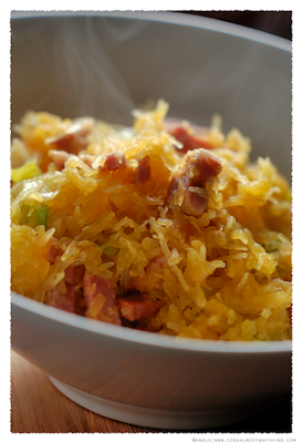 Stir-fried Spaghetti Squash with Pancetta and Leek
