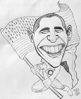 Caricature of Barack Obama made by Rasagy Sharma aka RaSh