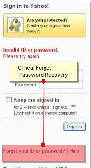 Forget Yahoo Password