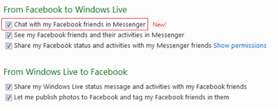 Facebook Chat on Setting Profile Preference Windows Live