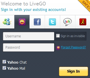 LiveGo login Screen