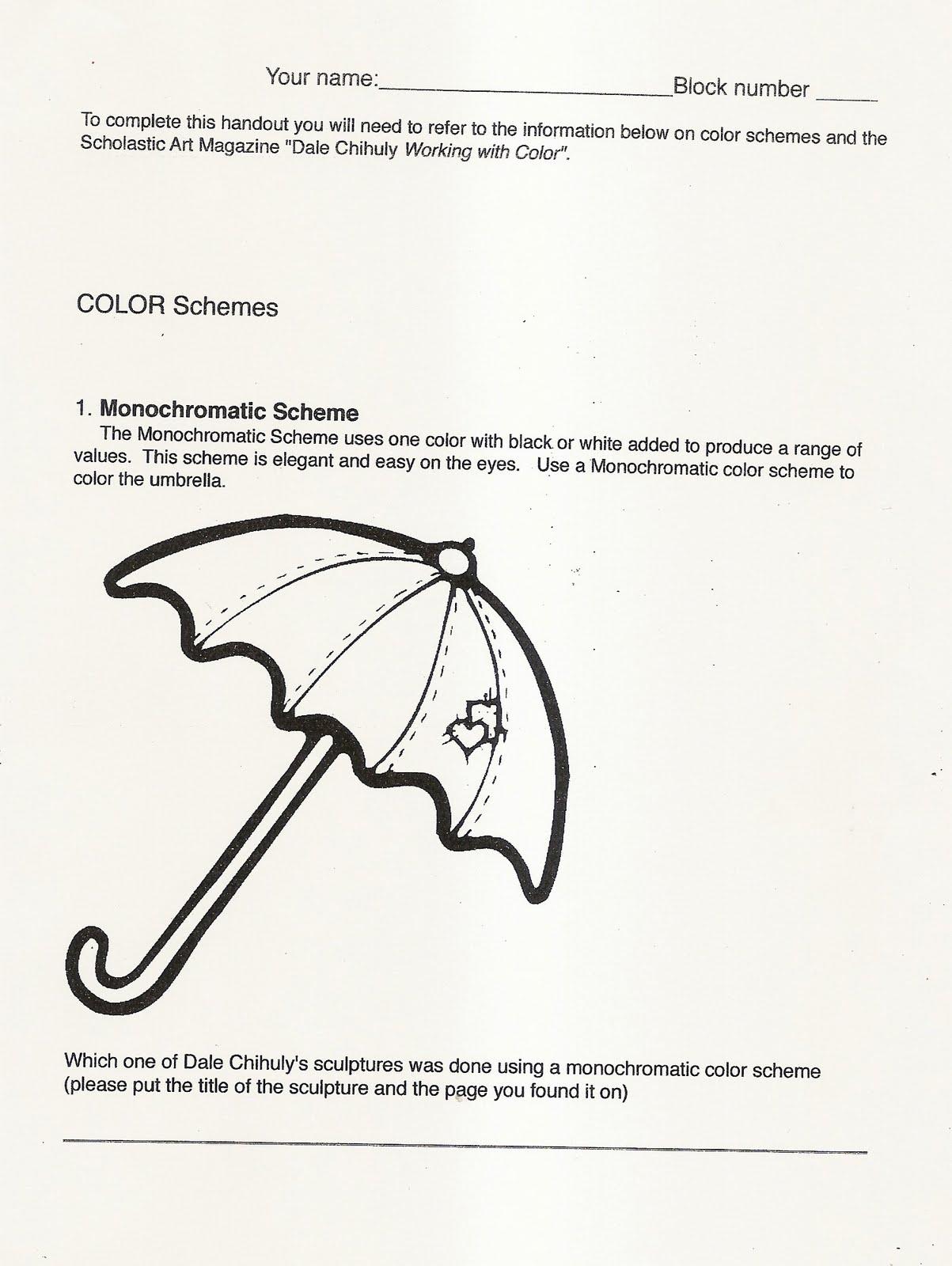 Handouts and worksheets: Color Schemes handout - November (Nov 1 - 5)