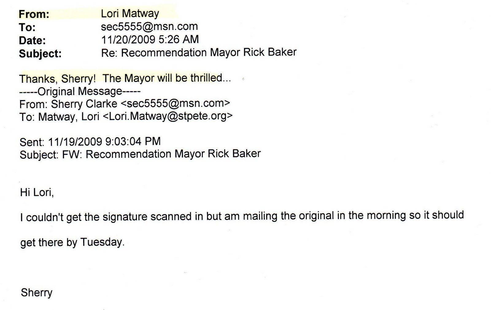 mails confirm city hall administrator is coordinating letter writing