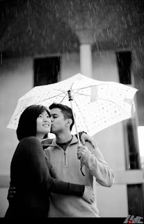 Beautiful Couple enjoying in the rain