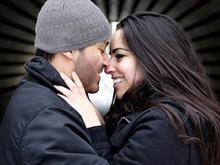 Young beautiful couple hugging