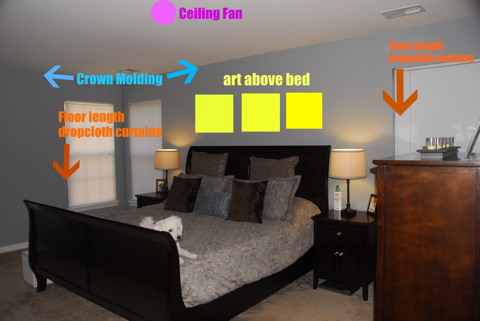 Marvelous I Already Bought Oil Rubbed Bronze Curtain Rods, And Iu0027m Going To Make Some  Dropcloth Curtains. I Need To Add Some Art Above Our Bed, Add Crown  Molding, ...