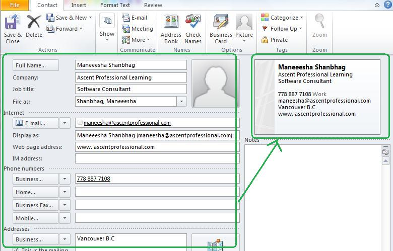 Ascentsofttech how to create and send business card using ms create a contact outlook contact new contact key in all information and see how the business card is created colourmoves