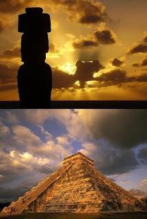 Moái de la isla de Pascua y pirámide maya