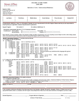 Degree Audit Form