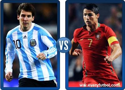 Partido Amistoso Portugal Vs Argentina = Lionel Messi Vs Cristiano Ronaldo