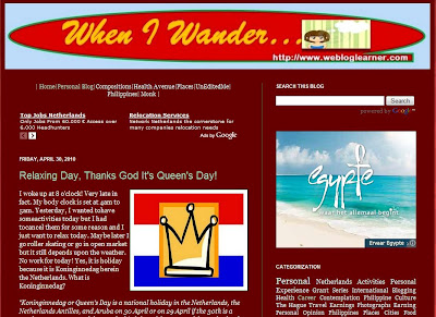 screenshot of when i wander blog at http://www.webloglearner.com